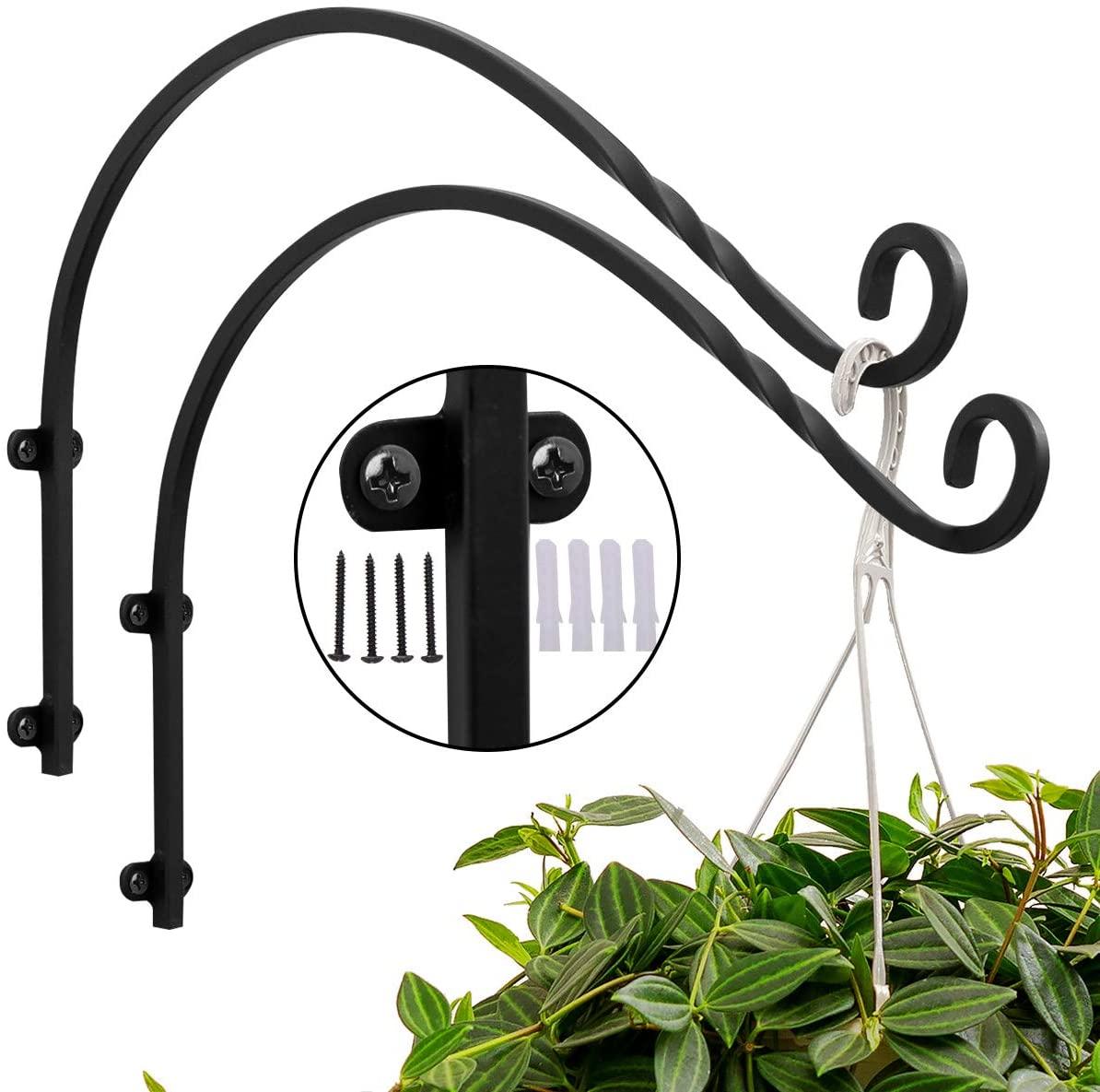 ORZ 16 Inch Outdoor Planter Hook Pack of 2, Plant Hanger Bracket for Garden Deck Railing Flower Pots and Tree Bird Feeder