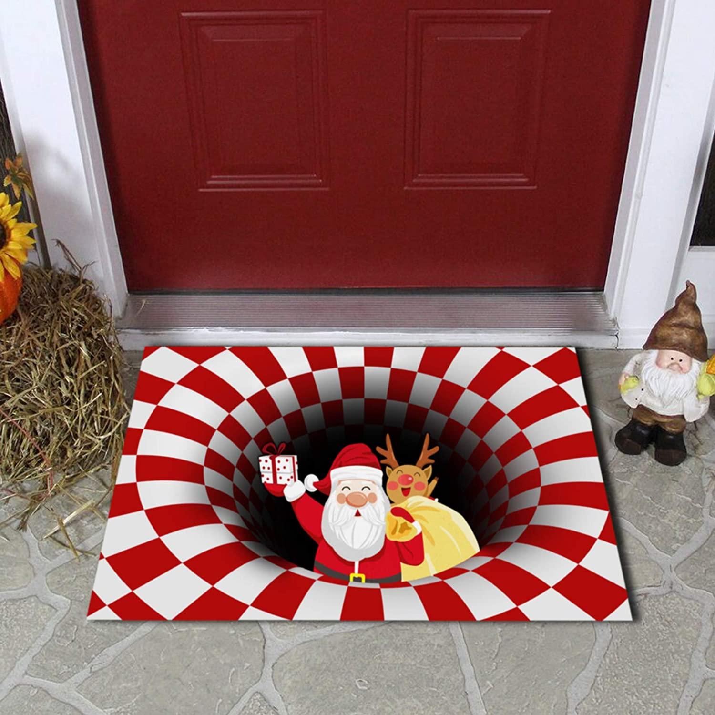 oufenli Funny Christmas Doormat, Door Decoration Illusion Floor Soft Non-Slip Doormat,Washable Indoor/Outdoor Entrance Rug for Home Décor (50×80cm, Christmas-A)
