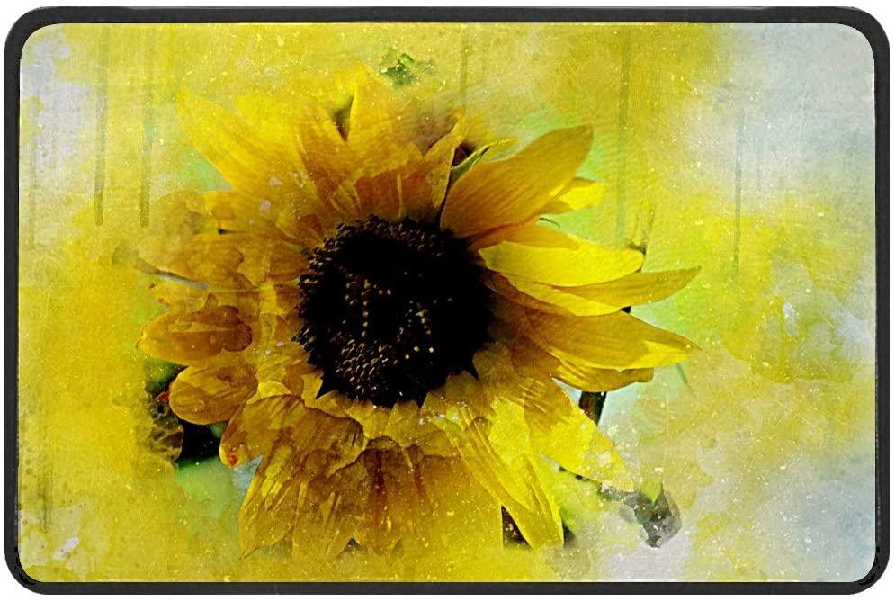 Door Mat - Welcome Mat Front Doormat Watercolor Sunflower Floor Mat Resist Dirt Entrance Rug Machine Washable Carpet for Home Indoor and Outdoor Non Slip for Kitchen/Bathroom/Laundry Room