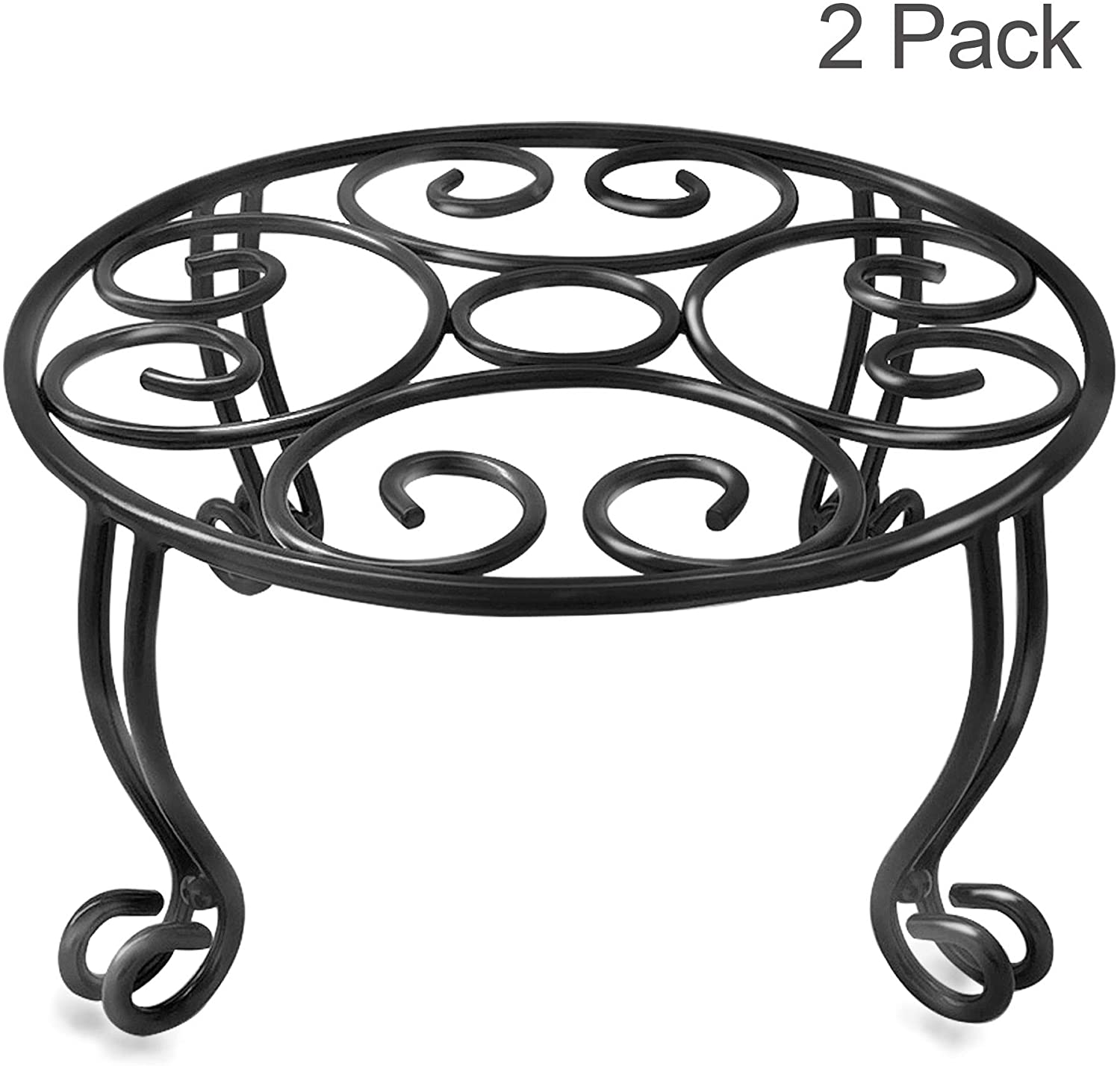 TREEZITEK Plant Stand for Flower Pot 6IN Height Heavy Duty Potted Holder Indoor Outdoor Metal Rustproof Iron Garden Container Round Supports Rack for Planter