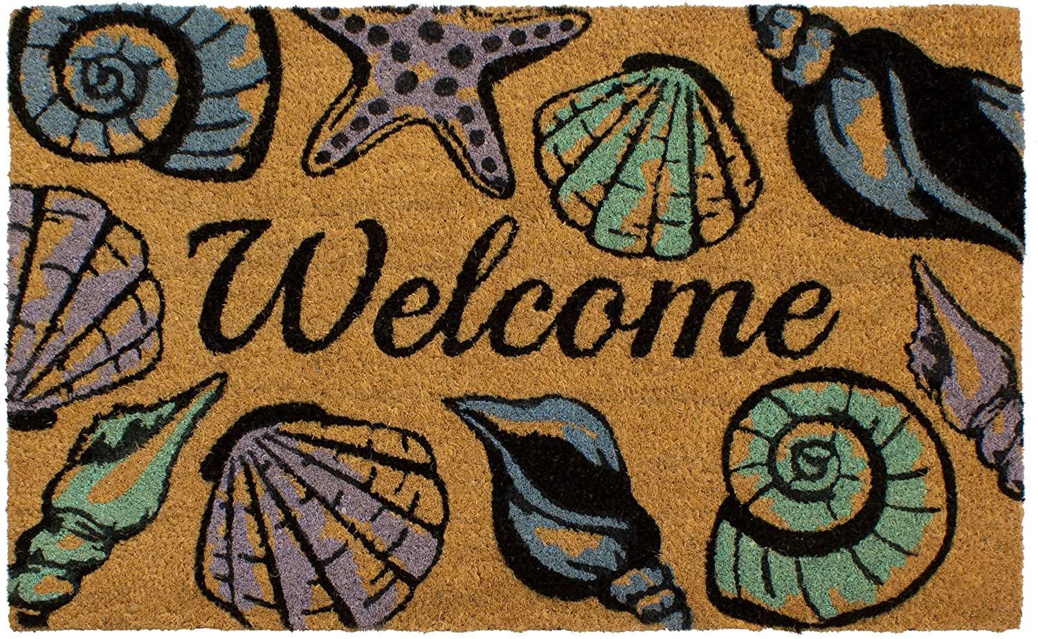 Storm Stopper Seashell Welcome Printed Coir Mat, 18