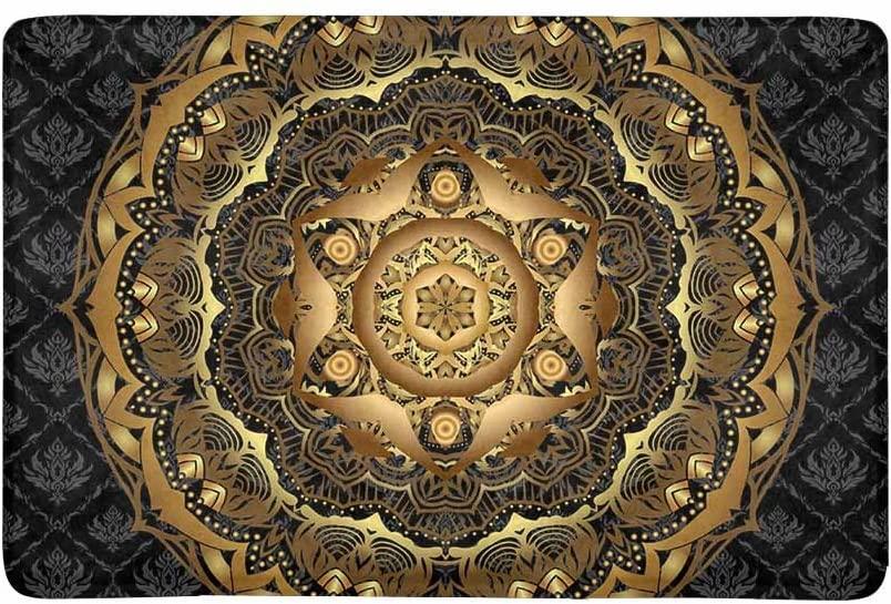 InterestPrint Vintage Gold Mandala Pattern on Black Damask Ethnic Ornament Doormat Non-Slip Indoor and Outdoor Door Mat Rug Home Decor, Entrance Rug Floor Mats Rubber Backing, 23.6