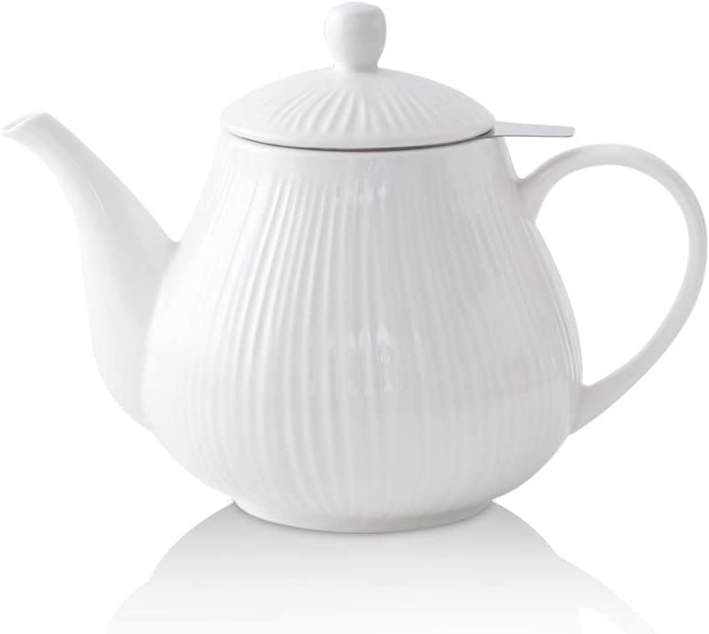 KOOV Ceramic Tea Pot with Stainless Steel Infuser, 40 ounce Large Enough For 6 Cups, Striped Series (White)