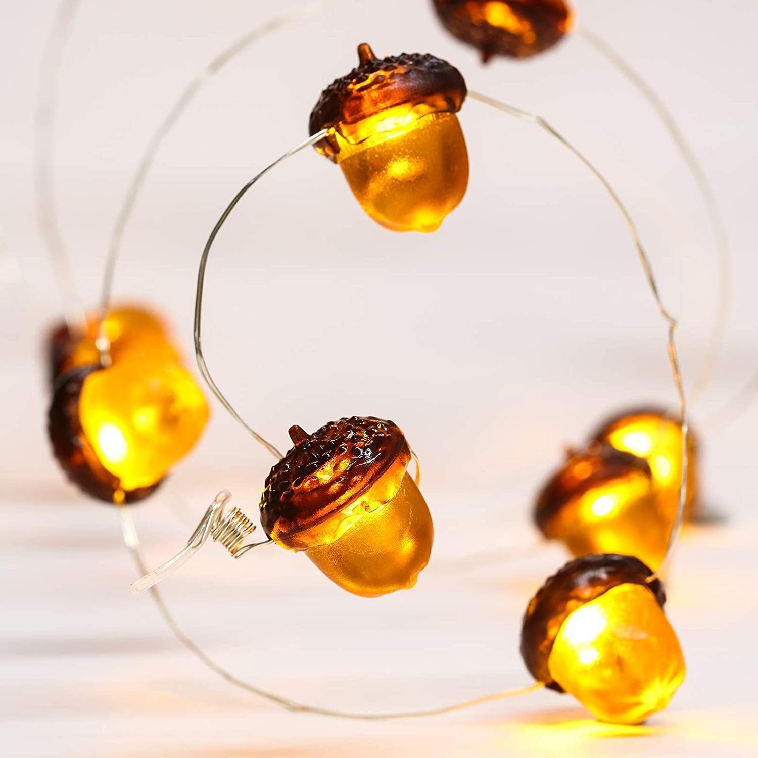 Fall Acorn String Light 3D Acorn Thanksgiving Lights 10 Feet 30 LED Waterproof Lights Battery Powered with 12 Modes, Remote Timer for Fall Thanksgiving Autumn Christmas Indoor Outdoor Decor