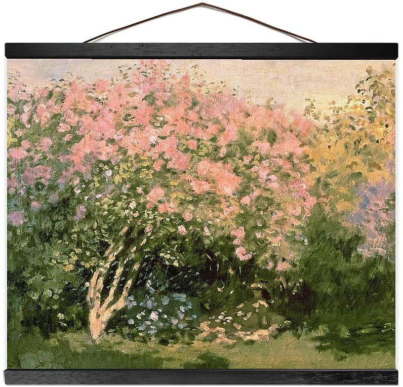 Lilac in The Sun, 1873 (Black Trim) Wall Hanging Canvas Tapestry, Floral Home Decor, 20x16