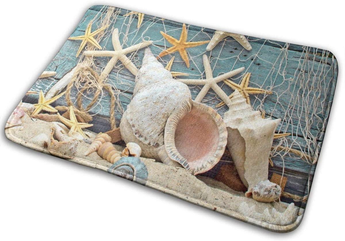 Jiinn Durable Rubber Door Mat,16 X 23 Inch, Heavy Duty Doormat for Indoor Outdoor, Waterproof, Easy Clean, Low-Profile Rug Mats for Entry, Patio,Fishing Net On Wooden Board Starfish Beach