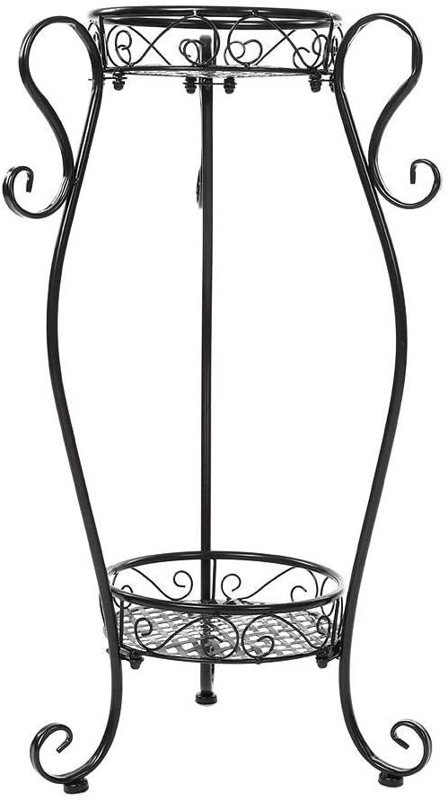 2 Tiers Metal Plants Stand Flowerpot Holder, Indoor Outdoor Balcony Living Room Iron Plant Display Stand, for Home Garden Patio Corner Outdoor Indoor (8.6614.1725.98in)(Black)