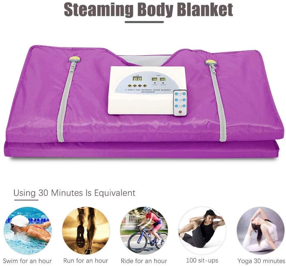 S SMAUTOP 2 Zone Digital Far-Infrared (FIR) Oxford Sauna Blanket Body Shaper Professional Detox Therapy Sauna Blanket(Purple)