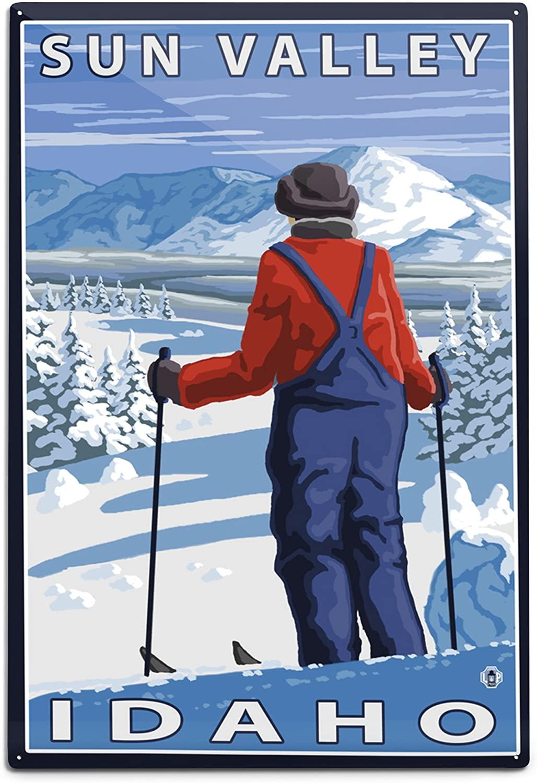 Lantern Press Skier Admiring - Sun Valley, Idaho (12x18 Aluminum Wall Sign, Wall Decor Ready to Hang)