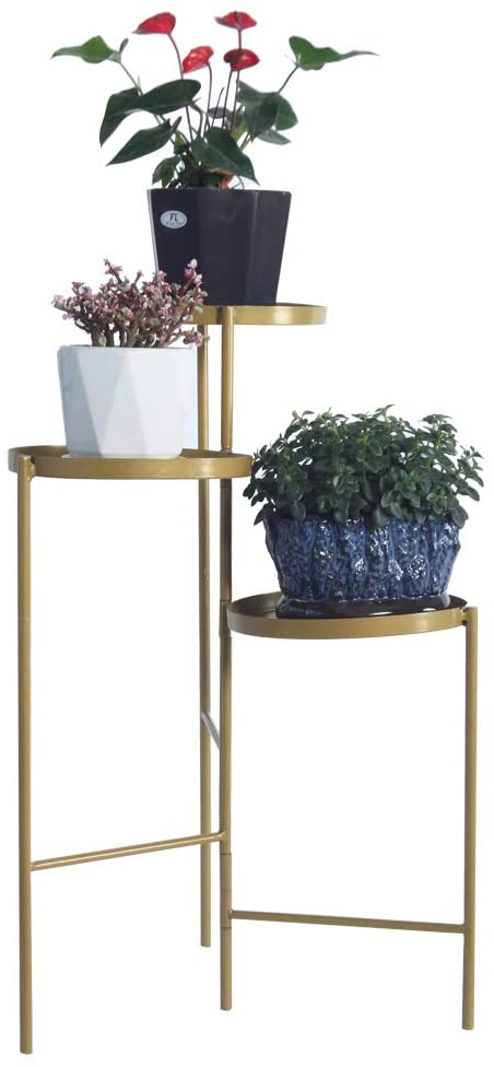 Metal Plant Stand Shelf 3 Tier Foldable Plant Stand Flower Pot Holder Display Rack for Indoor Outdoor Gold