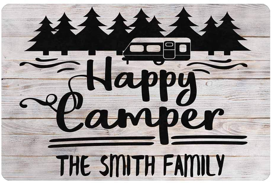 MyPupSocks Personalized Mat with Text, Custom Family Name Doormat Happy Camper Tree Wood Indoor Outdoor Entrance Mat Floor Mat Decorative Home Office Welcome Mat Rug 24x16 Inches