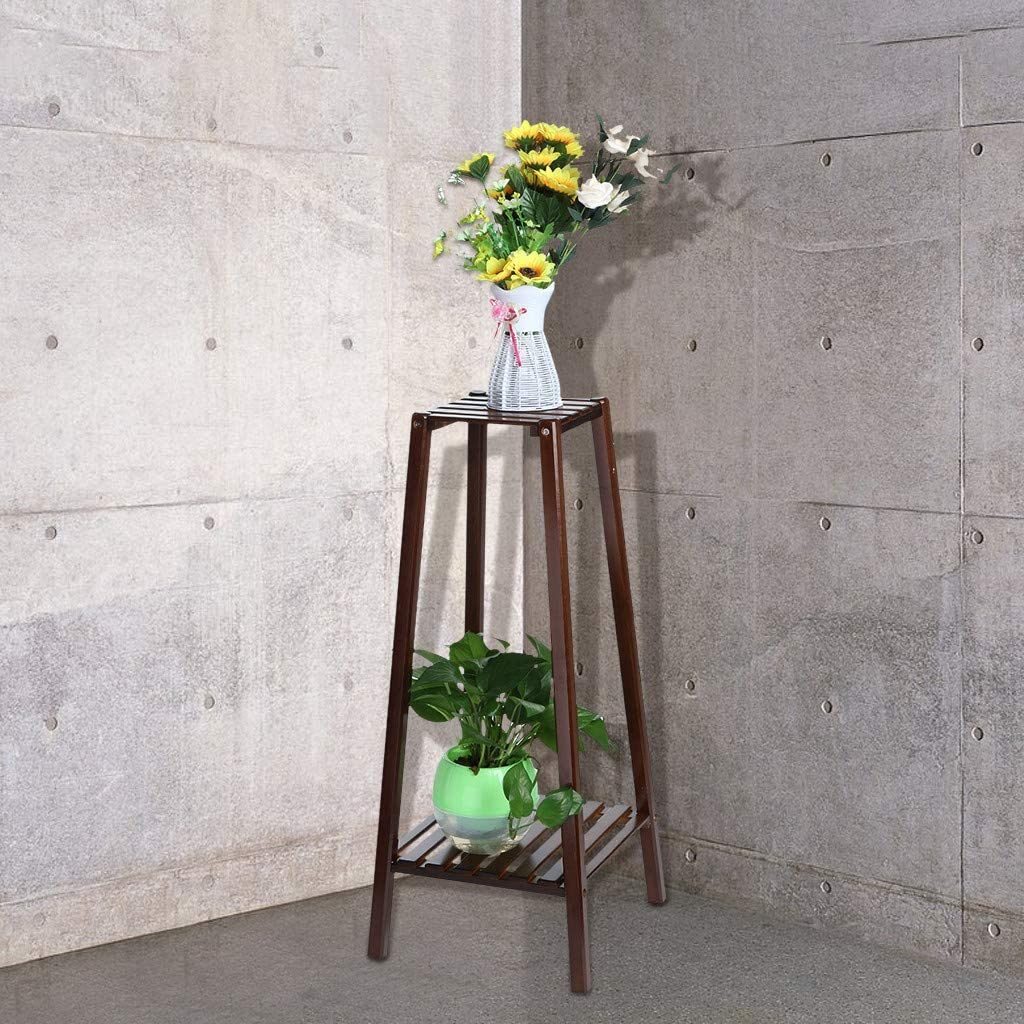 Jeash 2-Tier Bamboo Plant Stand Planter Rack Flower Pots Holder Display Rack [Ship from USA Directly]