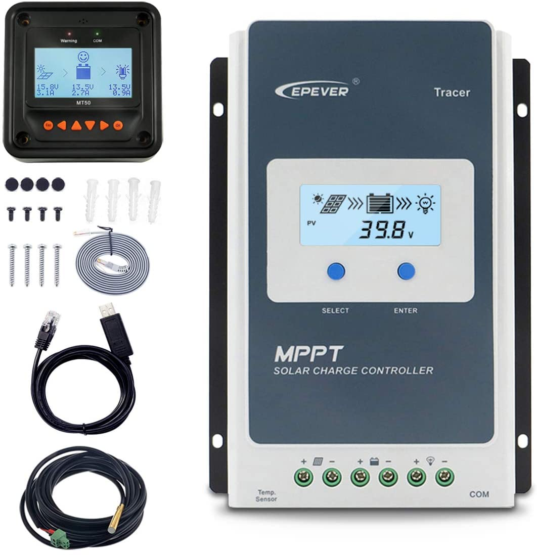 EPEVER 10A Solar Charge Controller MPPT 12V / 24V Auto Max.PV 100V Input Negative Ground Solar Panel Charge Regulator with MT50 Remote Meter Temperature Sensor RTS & PC Communication Cable RS485