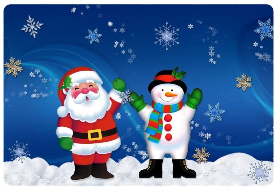 Coloranimal Non Slip Indoor Outdoor Shoes Scraper Thin Front Doormats Christmas Santa Claus with Snowman Pattern Rubber Backign Door Mat All Weather Exterior Heavy Duty Area Rugs