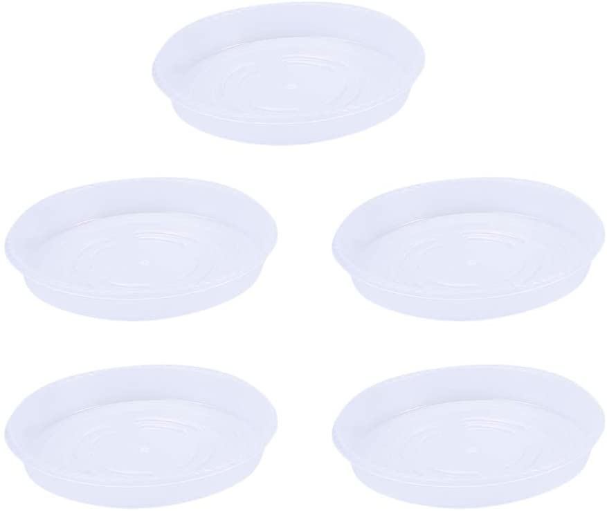 Yardwe 5PCS Clear Plastic Plant Saucers Tray Drip Tray Pot Saucer Round Flower Pot Tray for Holding Water Drips and Soil,7.9 Inch
