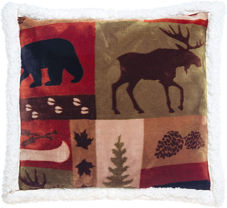 Carstens Patchwork Lodge Pillow - Plush Sherpa Fleece Pillow Cover - Outdoor Pillow - Soft Pillow - Patio Pillows - Throw Pillow - Accent Pillows - Lake House Decor for The Home - 18x18 Pillow Cover