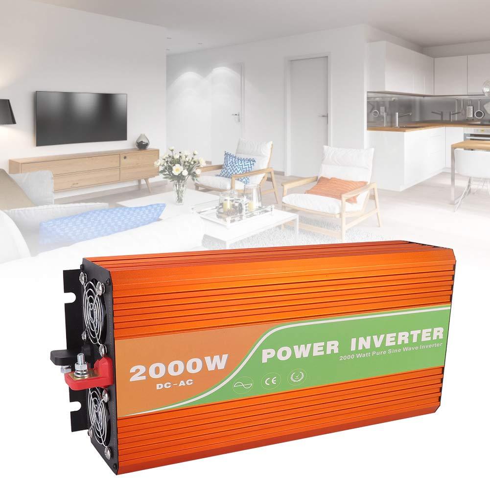 Power Inverter,2000W High Frequency Pure Sine Wave Power Inverter Car Solar Inverter Output Voltage 110V(DC 12V)