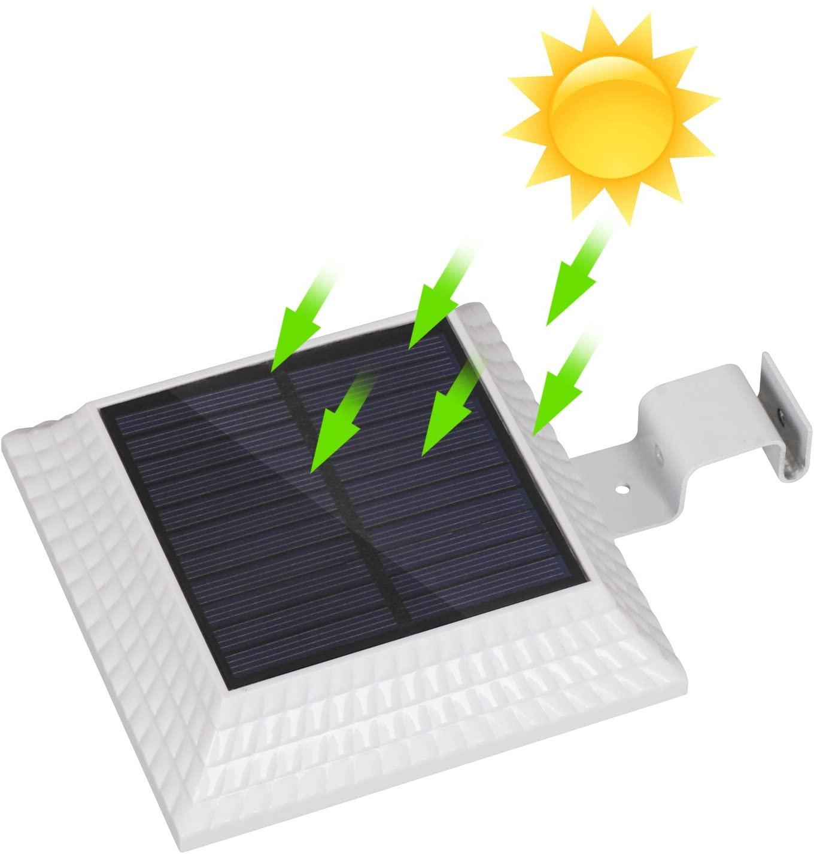 12 LED Solar Gutter Lights Outdoor, Wireless Gutter Lights Dusk To Dawn, Waterproof Security Wall Lights for Garden, Fence, Garage, Warehouse (Daylight White 6000K)
