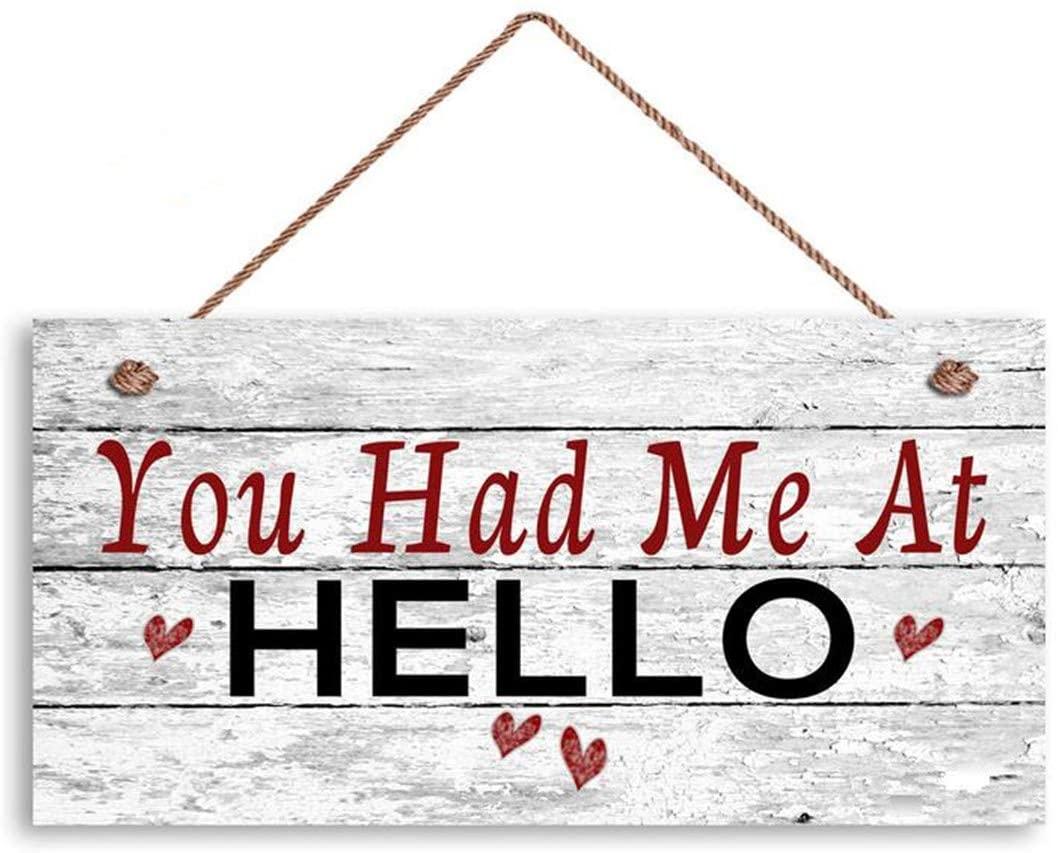 MAIYUAN You Had Me at Hello Sign, Distressed Wood Sign, Rustic Wall Art, 6