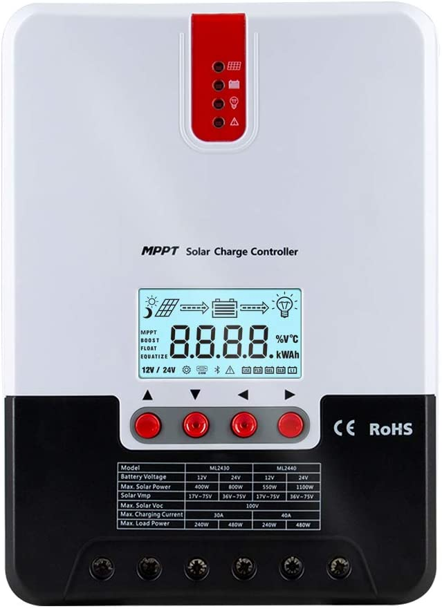 iSunergy 30A MPPT Solar Charge Controller Automatically Identifying 12V/24V Automatically Identifying Max.PV 100V Battery Charging Regulator with LCD Display