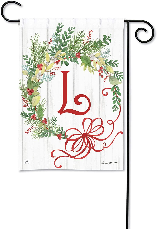 BreezeArt Studio M Winterberry Monogram L Garden Flag - Premium Quality, 12.5 x 18 Inches