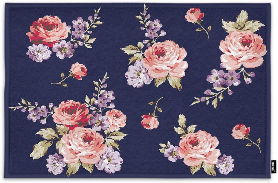 Moslion Rose Door Mat Retro Style Vintage Design Summer Spring Flowers Wildflowers Elegant Non Slip Funny Doormat for Outdoor Indoor Decor Entry Rug Kitchen Bedroom Mat 18 x 30 Inch