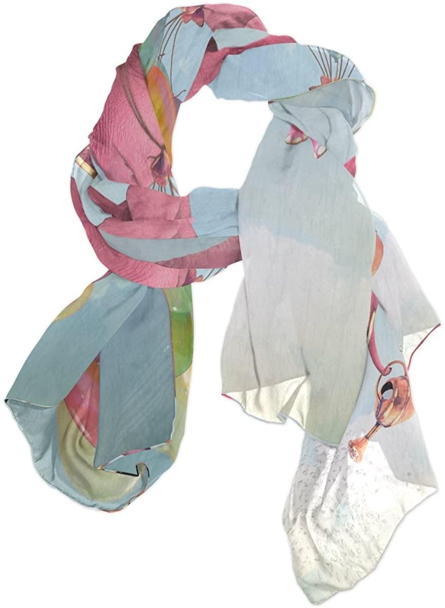 Use4 Pink Elephant Watering Can Chiffon Silk Long Scarf Shawl Wrap
