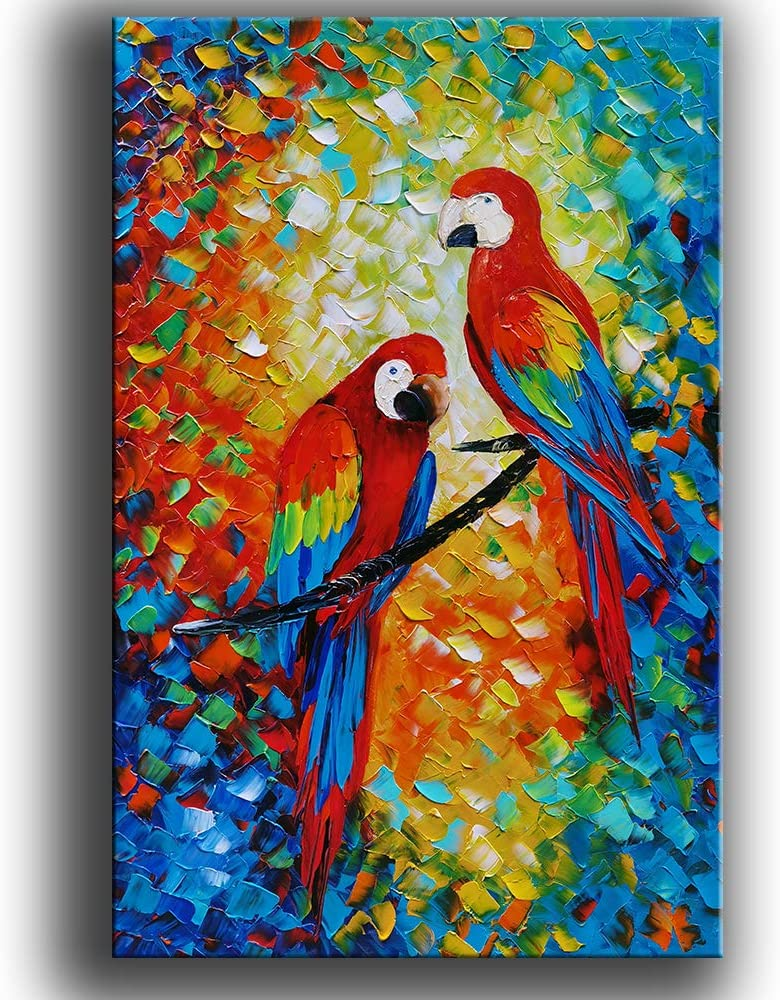 YaSheng Art -parrot Paintings Landscape Oil Painting On Canvas Textured Tree Abstract Contemporary Art Wall Paintings Handmade painting Home Office Decorations Canvas Wall Art painting 24x36inch
