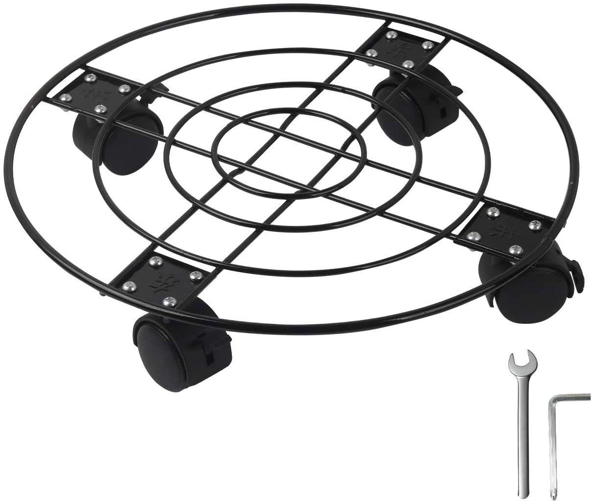 GARTOL Rolling Metal Plant Caddy - 13'' Iron Round Plant Stand on Wheels, Garden Flower Pot Planter Mover, Heavy Duty Potted Plant Dolly for Outdoor & Indoor with Locking, Black