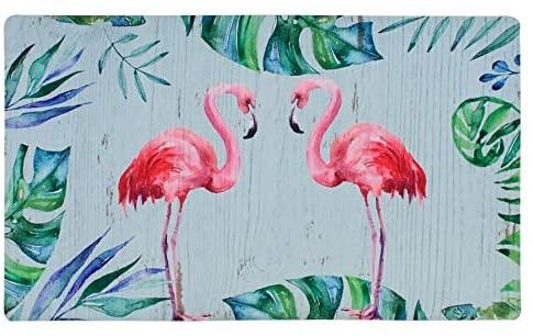Doormat Entrance Floor Mat Rubber Back Non Slip Doormat Welcome Printing Indoor Outdoor Door Mat Non-Woven Fabric Top 17x29 Inch (Flamingo)