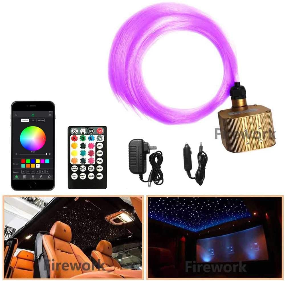 2020 New Upgraded 16W Twinkle Fiber Optic Light Star Ceiling Kit, Bluetooth APP/Remote Music Mode LED RGBW Starlight Headliner for Car and Room, Mixed 380pcs (0.03in+0.04in+0.06in) 9.8ft