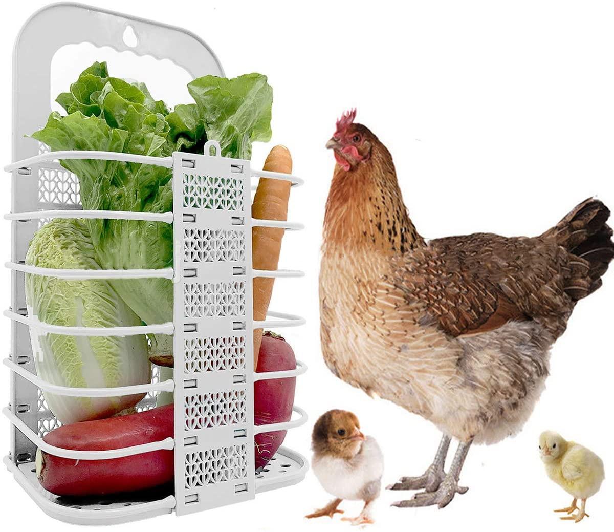 Chicken Vegetable Basket Folding Veggie Ball Fruit Veggie Hanging Feeder for Hens Chicken Coop