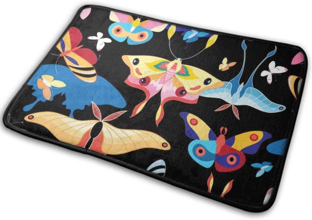 NiYoung Front Door Mat Outdoor Rugs (40cmx60cm) Funny Pattern-Multicolored Butterflies Shaggy Warm Easy Clean