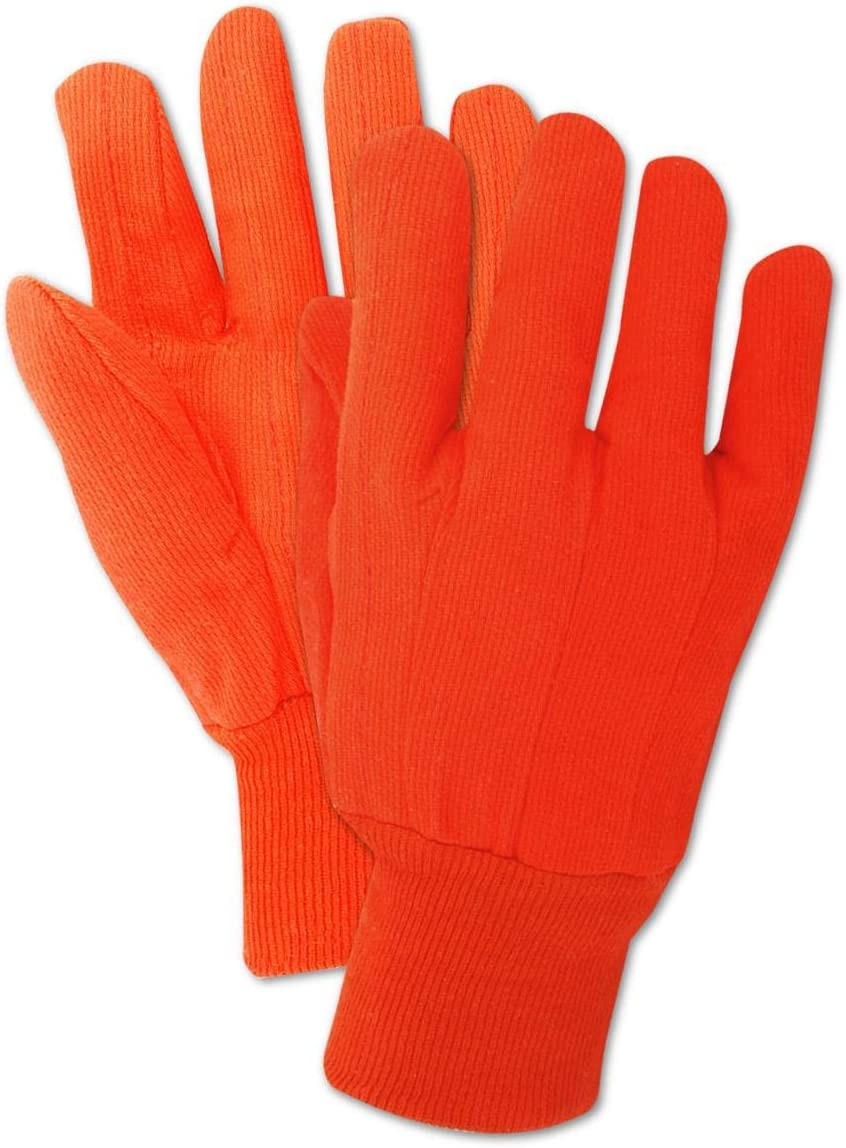 Magid Glove & Safety Double Palm Canvas Gloves with Knit Wrist, Men's Jumbo (180 Pair), Orange, 10/X-Large (795JKWNL-15)