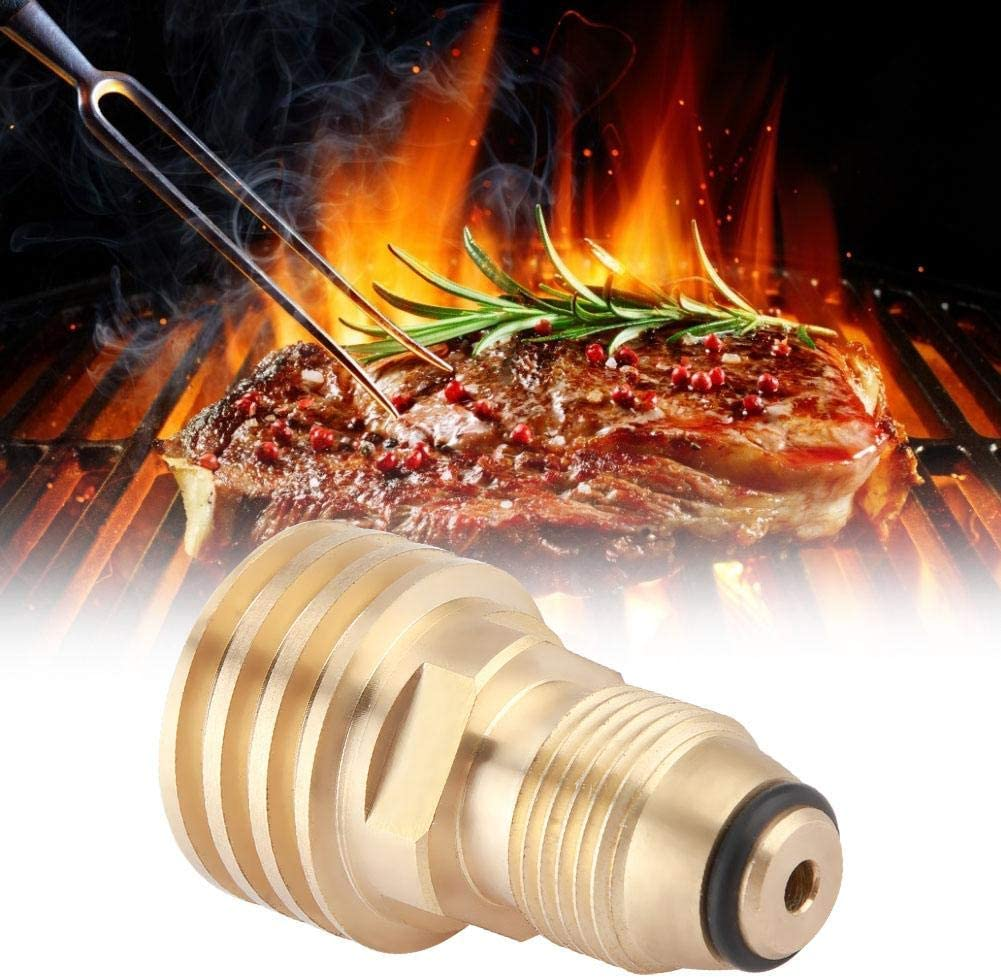 Qioni BBQ Propane Adapter, Durable Propane Connector, Brass Propane Tank for Camping Barbecue