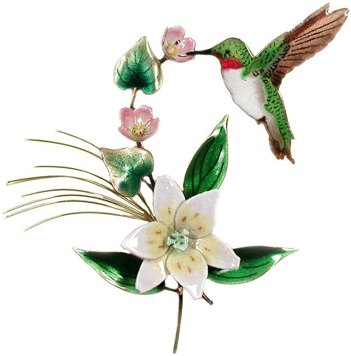 WALL ART - HUMMINGBIRD WITH BLOSSOMING LILY METAL WALL SCULPTURE - WALL DECOR