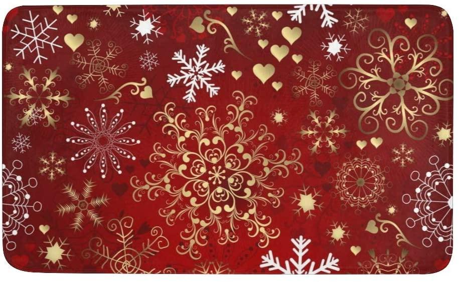 CUXWEOT Christmas Snowflake Red Door mat Entrance Door Rugs Non-Slip Backing Ultra Absorbent Welcome Doormat Decor Office Garden Kitchen Mats 23.6 x 15.7 Inch
