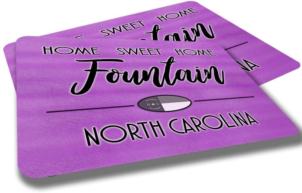 Fountain North Carolina Home Sweet Home Towns Cities Provinces Door Mat Pink Brown Design Rubber Grip Non Skid Backing Rug Indoor Entryway Door Rug Mats Pack of 2