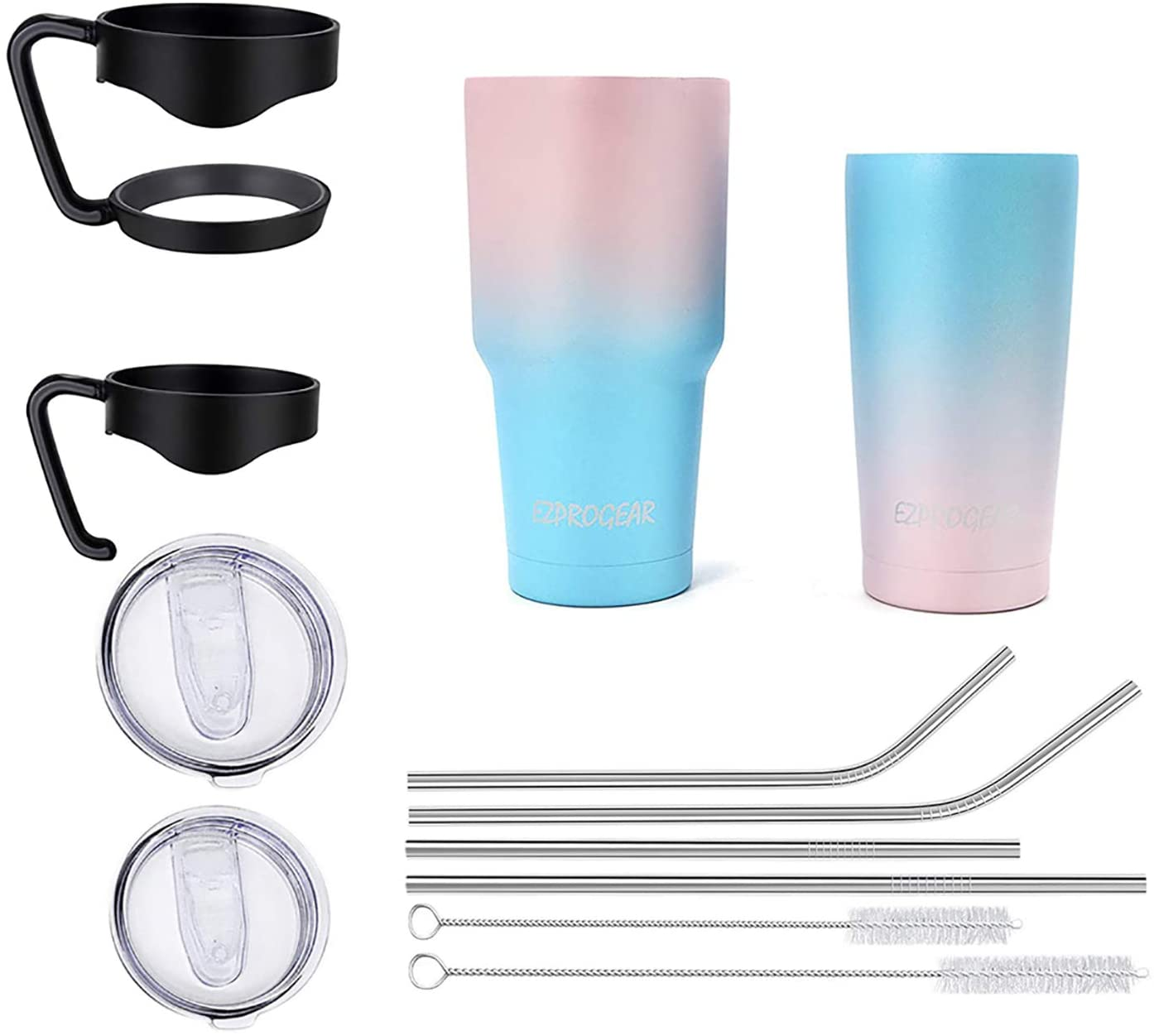 Ezprogear 20 oz 30 oz Stainless Steel Vacuum Insulated Double Wall Tumbler with Straws and Handle (20 oz & 30 oz, Pink/Mint)