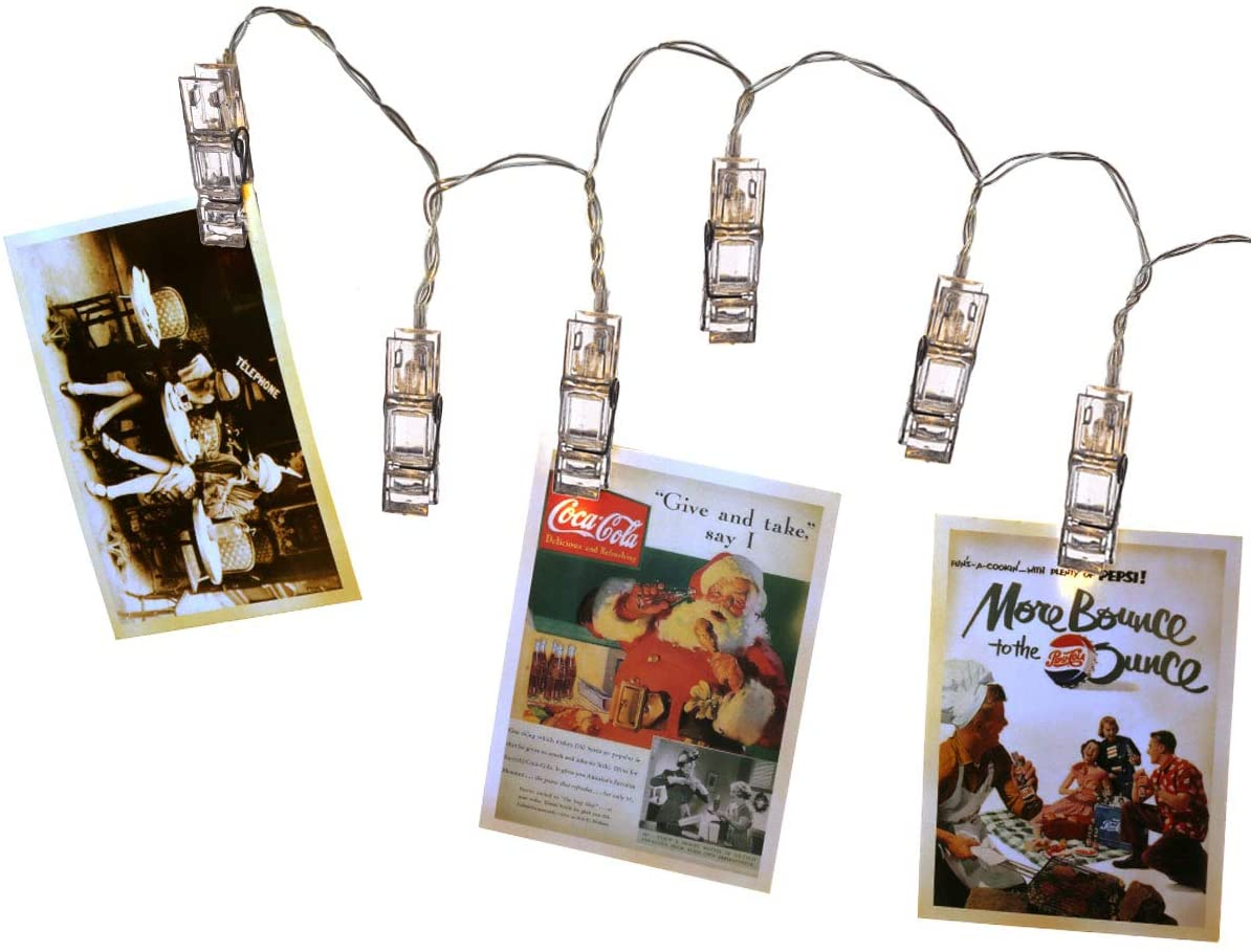 Szxc Photo Clips String Lights - 10Ft 20 Steady On/Flash Led Lights - Battery Operated - Warm White - Thanksgiving Christmas Decorative Lights Indoor