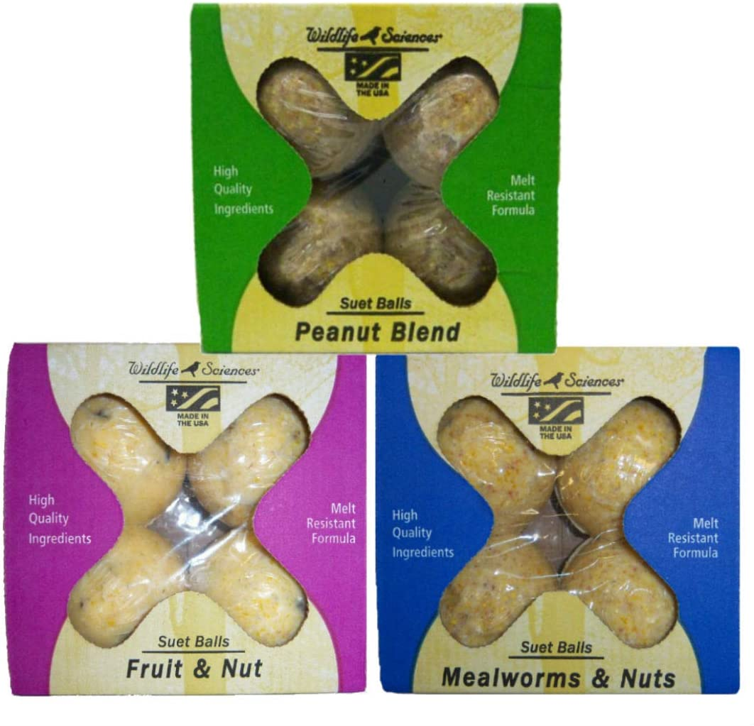 Wildlife Sciences Suet Ball Variety Pack: Fruit and Nut, Mealworms & Nuts and Peanut Blend, 4 Packs Each