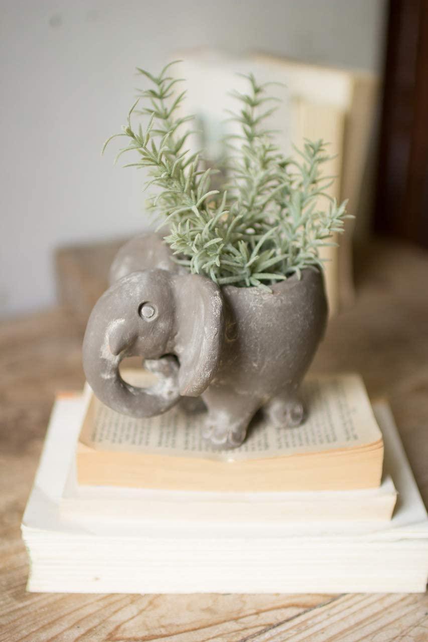 BORNEO DECOR H3336K Clay Elephant Planter