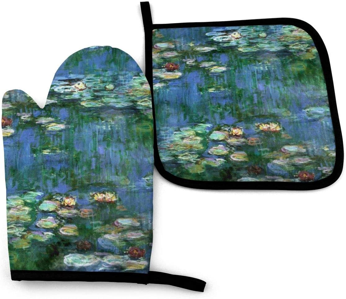 ZJBLHEQ Lilies Claude Monet Water Lilies Oven Mitts and Pot Holders Set Potholder Gloves Heat Resistant Non-Slip for Kitchen Cooking Baking Grilling BBQ
