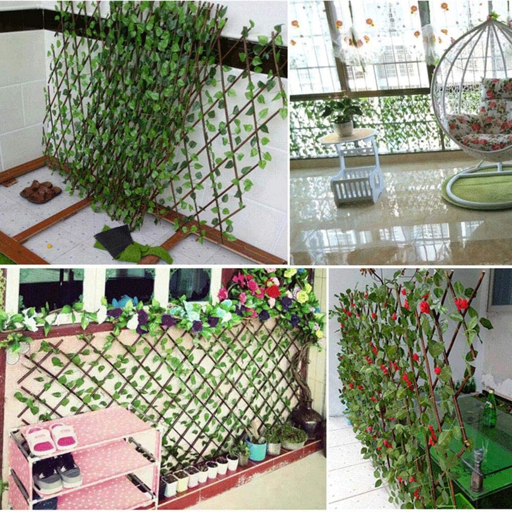 ZABB Expanding Trellis Artificial Garden Plant Fence ,Artificial Hedge Plants Hanging Panels Decorative Fence,for Outdoor Indoor Use Garden Fence Backyard Home Decor Greenery Walls