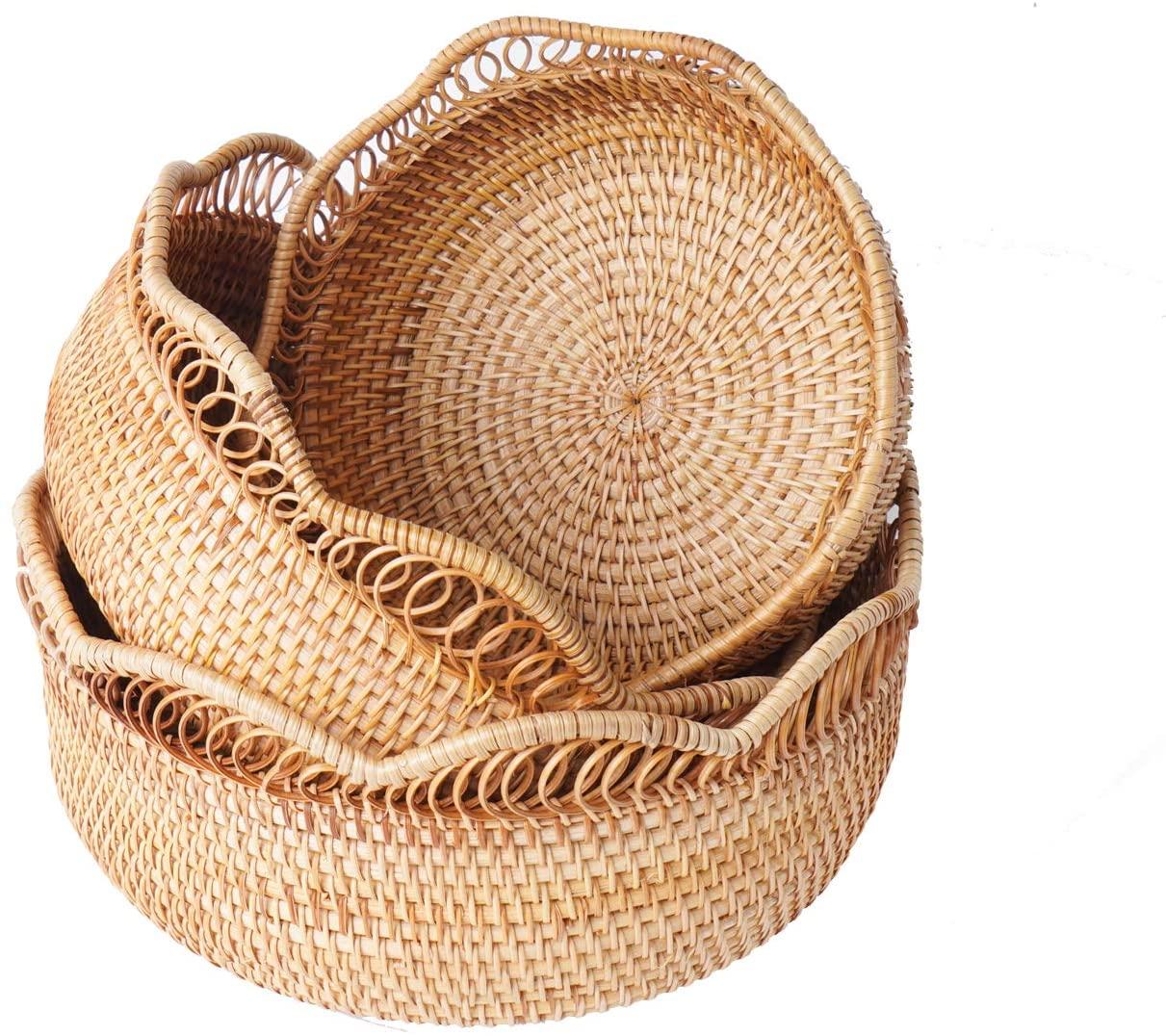Natural Bamboo Round Rattan Wicker Baskets for Storage, Fruit Basket, Bread Baskets for Serving, Kitchen - Snack Gift Basket (S2)