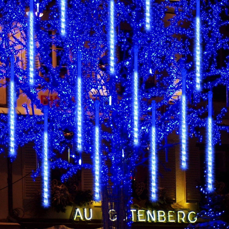 GPODER 50CM Shower Rain Lights, 576 LEDs Falling Rain Lights, 12 Waterproof Spiral Tubes Meteor Lights for Christmas Outdoor Garden House Window Xmas Tree Decoration(Blue)