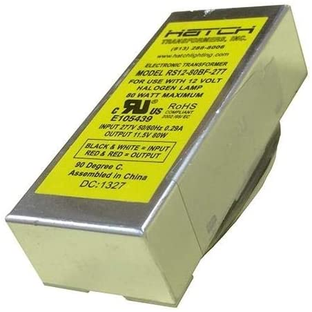 12V Electronic LV Transformer - Min/MaxWage 5-80WVage Input 277V For Use with Halogen Lamps - Bottom Feed - Hatch RS12-80-277BF