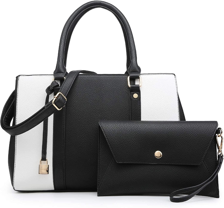 MKP Women Fashion Two Tone Medium Handbags Top Handle Satchel Purse Shoulder Bag with Wallet and Wristlet 3pcs Purse Set