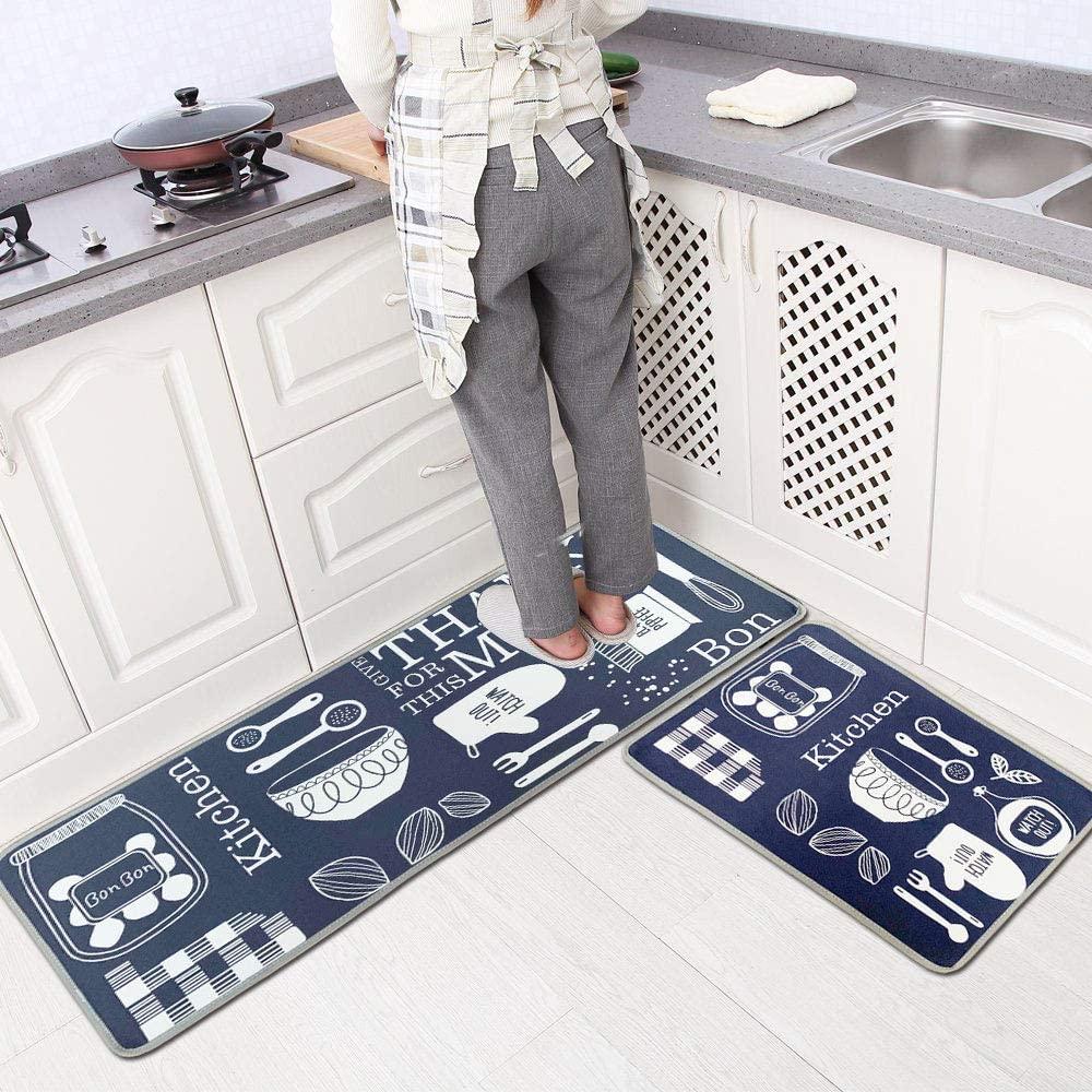 NEEBAO 2 Pieces Non-Slip Kitchen Mat Rugs Set,Bedroom Indoor Floor Mats Non-Slip Washable (47.2'' 15.7''+23.6''15.7