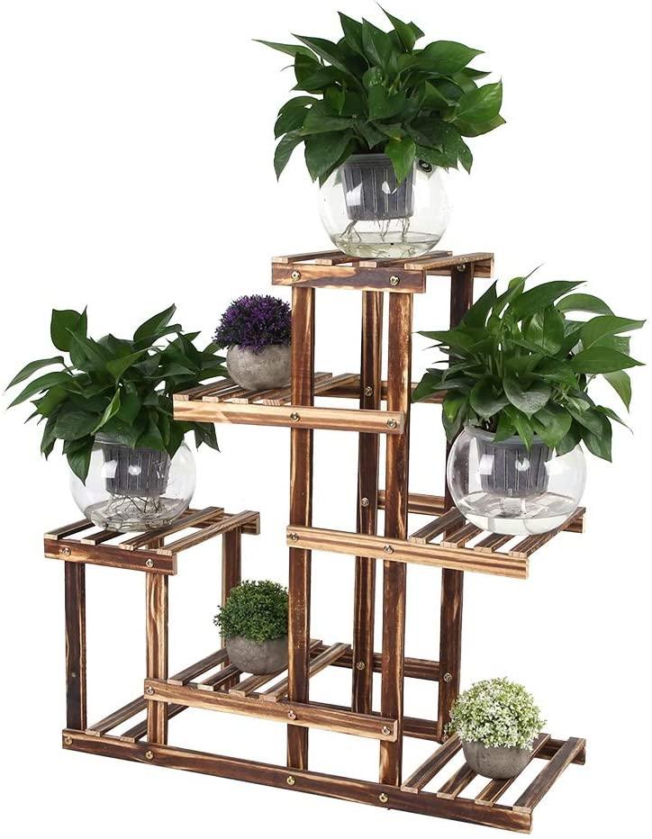 Wooden Plant Stand, Multi-Tiers Plant Flower Pot Display Rack Balcony Garden Flower Succulents Indoor Outdoor Shelf for Patio Balcony(5 Tier- 1)